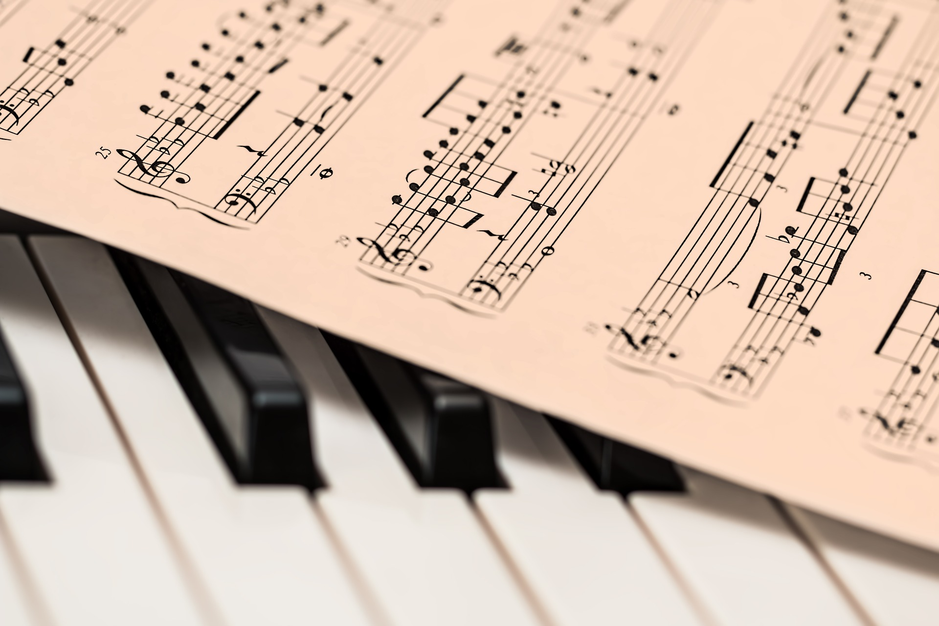 Picture of sheet music over piano keys