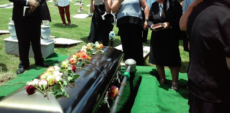 Casket and family